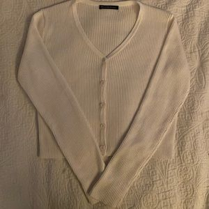 White ribbed cardigan from Brandy